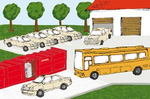 Tankstellencontainer für Taxi und Busunternehmen