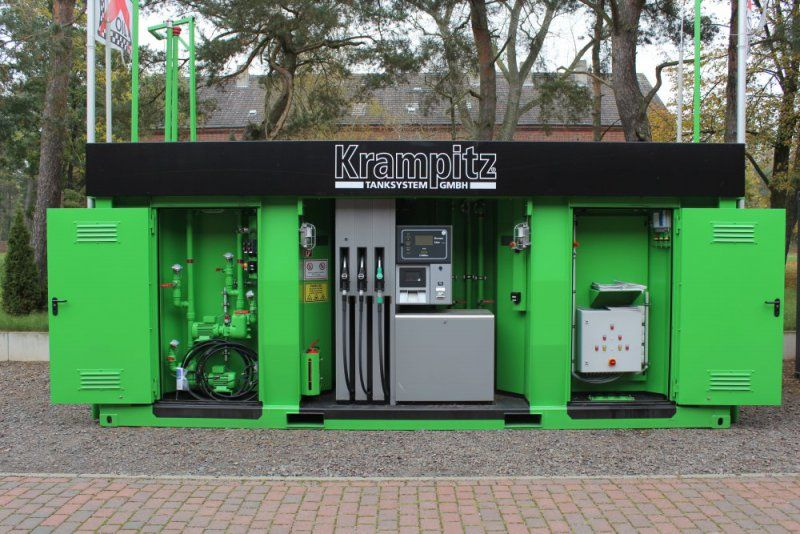 Industrial container-type gas stations and equipment for them