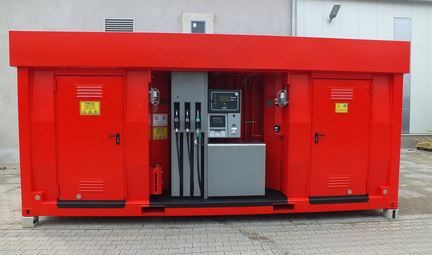Plant industry container-type gas stations and equipment for them