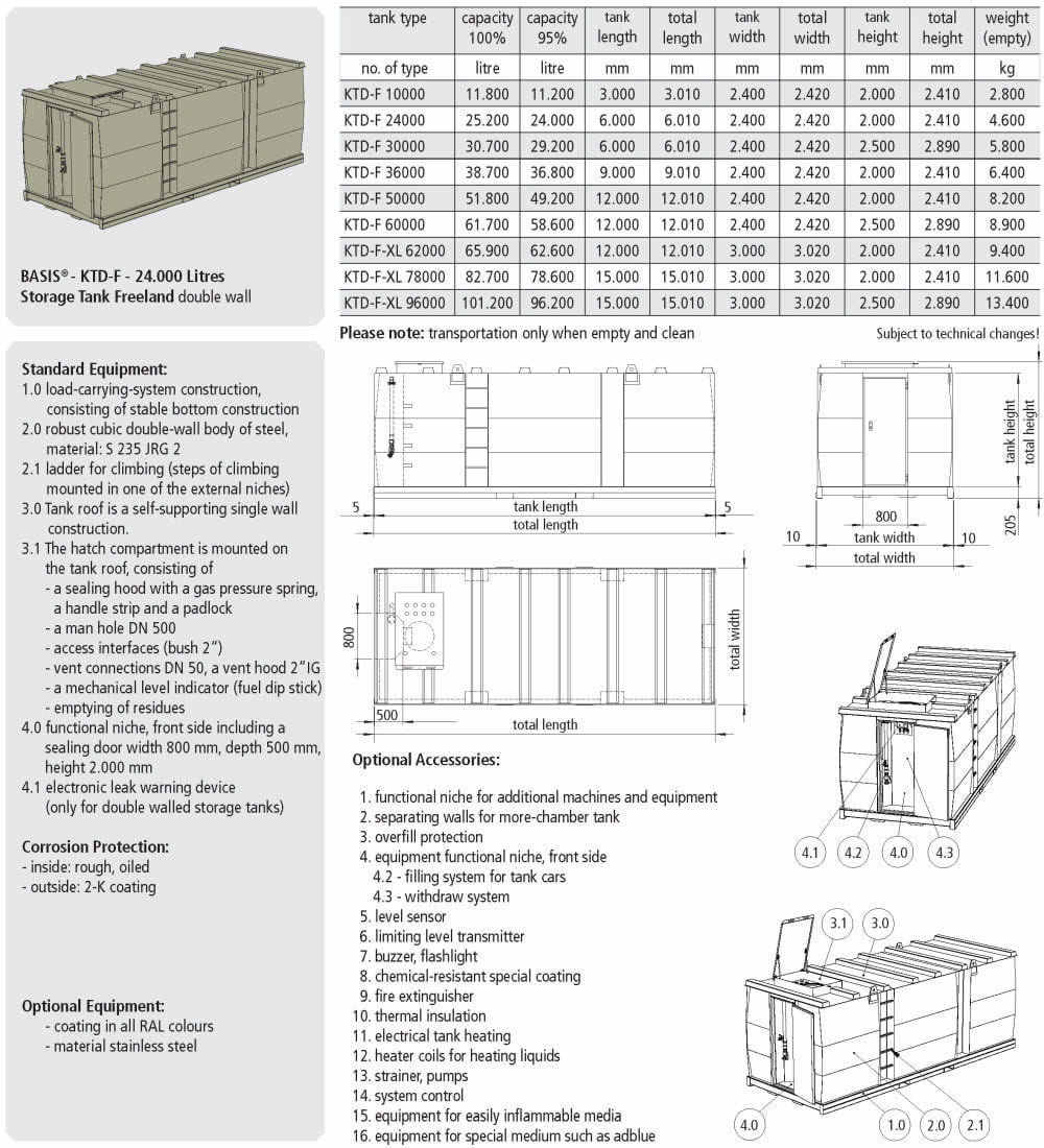 KTD-F Storage Tank Double Wall - data sheet