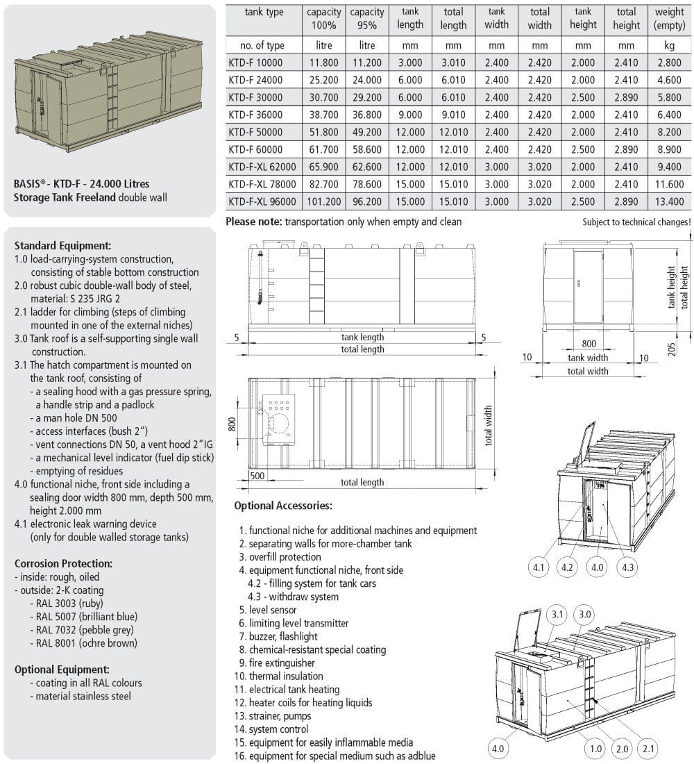 KTE-F Storage Tank Single Wall - data sheet