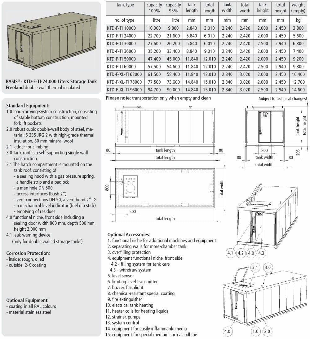 KTE-F-TI Storage Tank Single Wall - data sheet