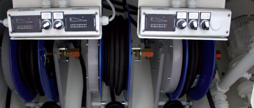 Lube fuel skids: Inhaltsanzeigen und Schalter für Ölsysteme und Kühlwasser