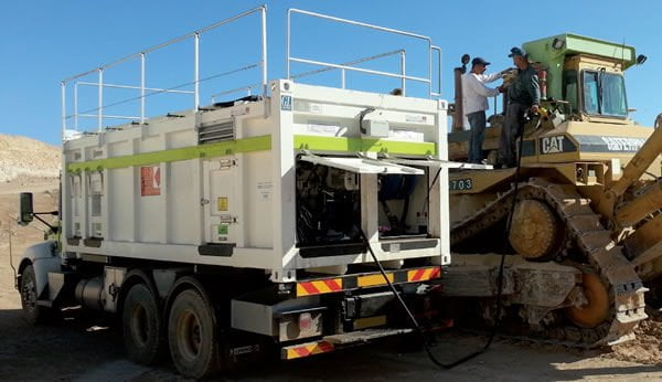 Diesel-, Öl-, Schmiermittel-, Wasserversorgung: mobiles Servicemodul für den Bergbau