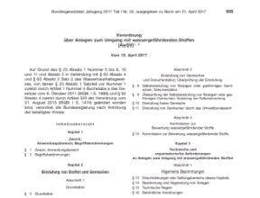 JGS AwSV-Verordnung Gesetzblatt
