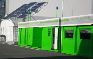 gas station container with office and solar tracker